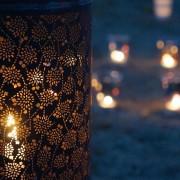 越谷キャンドルナイトより。越谷の伝統工芸である、浴衣のかご染め技術を用いた灯篭です。